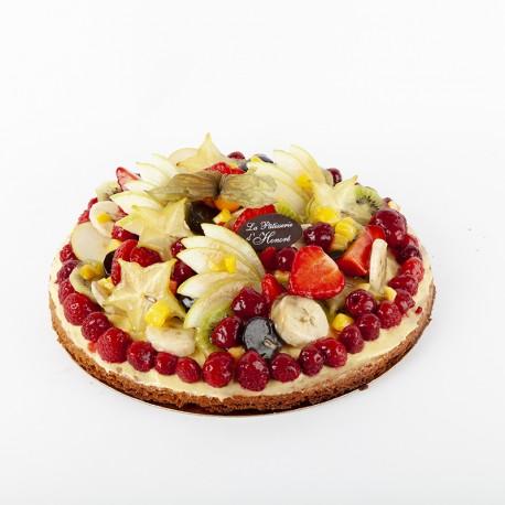 Tarte aux framboises et autres fruits frais